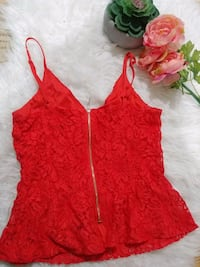 Dynamite Red Lace Tank Top