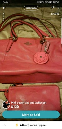 pink leather 2-way bag Lowell, 01852