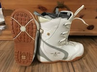 pair of white snowboard boots