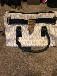white and black Michael Kors leather tote bag Regina, S4W 0C7