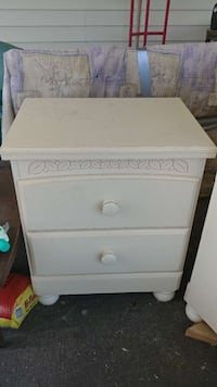 white wooden 2-drawers chest