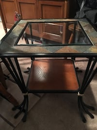 Black metal rectangular frame glass top table Lindenwold, 08021