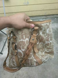 monogrammed gray, brown, and white Coach leather tote bag San Antonio, 78245