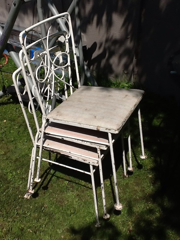 3 metal chairs