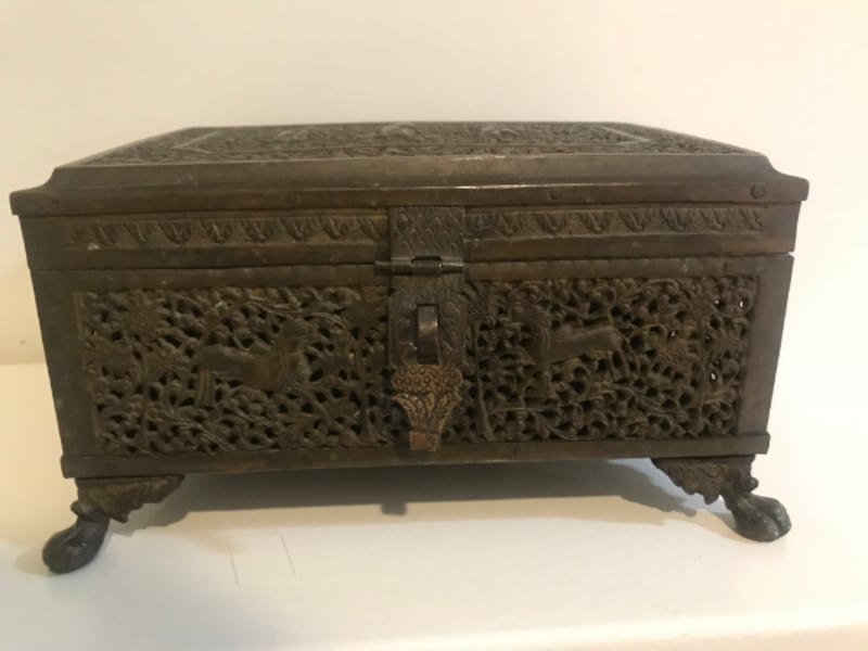 Antique Indian carved brass box f5c4428a-e72d-47c2-a202-2dcfd8272042
