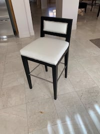 "DESIGNER SAMPLE SALE #1  Custom prototype barstool .Black Stained beech wood and white canvas. Silver nail heads. 30"" seat ht. One only Las Vegas, 89113"