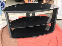 Black glass and gray tv stand - up to 65""