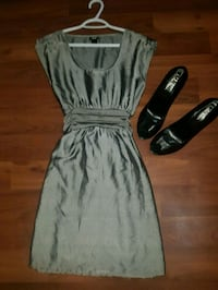Beautiful silver satin dress with waist tie