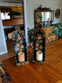 Antique hand painted wooden candle holders  Manassas, 20112
