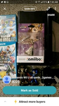 Nintendo Wii U all cords , 2games , and amibos