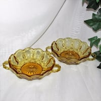 2 Anchor Hocking Fairfield Gold Glass Bowls Mississauga