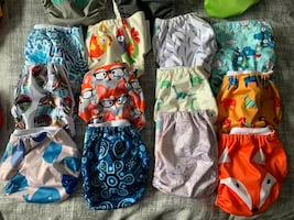 Starter pack of cloth diapers.