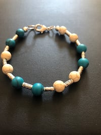 Handmade one if a kind unisex bracelet with beige and blue turquoise.