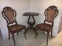 Two brown wooden framed padded armchairs Enmore, 2042