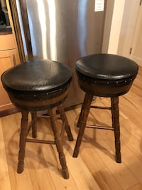 2 Bar stools with black leather seats Vienna, 22180