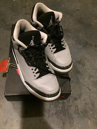 pair of white-and-black Air Jordan 3's with box ROCKVILLE