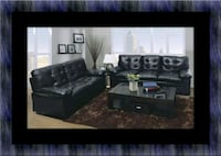 U6900 black bonded leather sofa and loveseat Temple Hills