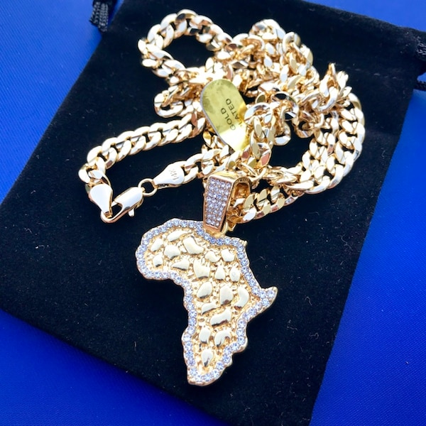 "New 14k Gold Plated Cuban Link Chain Necklace with Pendant 30"" or 24"""