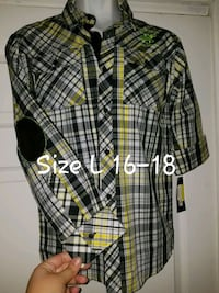 black, white, and yellow plaid dress shirt Fort Worth, 76103