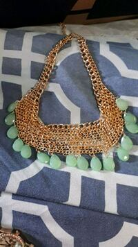 Gold chain mail necklace with teal tear drops Spruce Grove, T7X 0C8