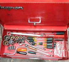 Snap on tool box with tools