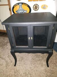Little black side table with 2 glass  Doors Nashua, 03060