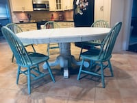 White distressed farmhouse dining set: table and chairs (Solid Oak!)