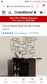 Large metal wall candle holder Alexandria, 22305