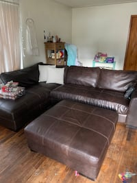 Leather brown sectional
