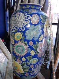 blue and white floral print leather bag Montreal, H8R 1E2