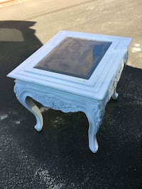 white wooden framed glass top side table Costa Mesa, 92626