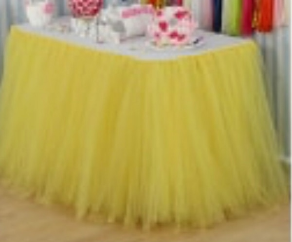 3 piece Tutu tutu Tulle table skirt. Will cover three sides of 6 feet table