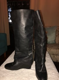 Steven by Steve Madden - Black leather wedge tall boots - size 7 1/2 Los Angeles, 90027