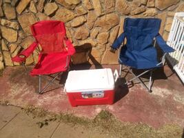 Cooler with two folding chair