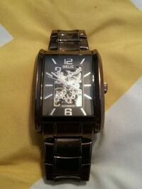 square relic analog skeleton watch with link brace Windsor, N8R 1C7