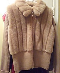 Tan faux fur n knit nice full zip jacket