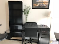 Black desk, bookshelf and chair price negotiable  Vancouver, V6B 4N6