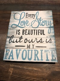 white and blue wooden quote wall decor Stirling-Rawdon, K0K