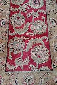 red, black, gold hand tufted area rug 334 mi
