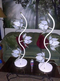 Pair of Rare White, Vintage Lotus Lamps Mount Rainier, 20712