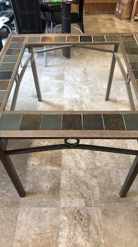 Rustic Tile trimmed  Glass Kitchen Table