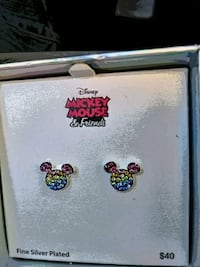 Mickey Mouse Earrings-Silver Plated. Menifee