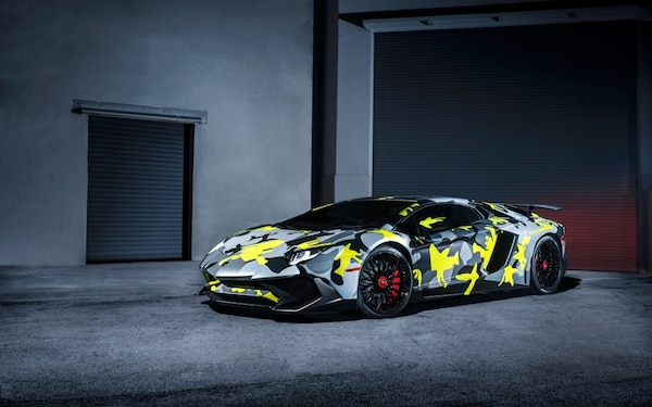 Used Gray Black And Yellow Camouflage Lamborghini Aventador For