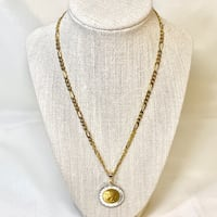 14k Gold Bail Italian Coin Pendant with 14k Vermeil Figaro Chain Ashburn, 20147