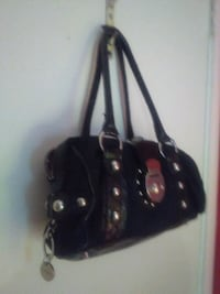 black leather 2-way handbag 2333 mi