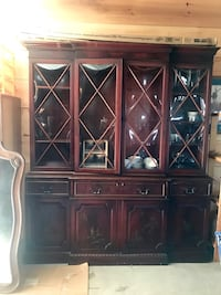 Antique bubble glass china cabinet with leather top desk MAKE OFFER
