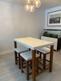 Crate&Barrel Engineered Stone-like Top Bar Height Dining Table+Stools
