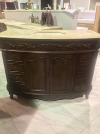 "48"" Antique Single Sink Bathroom Vanity Cabinet with Cream marble Top Fairfax"
