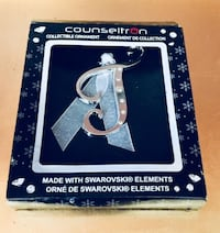"""BRAND NEW Counseltron Letter """"J"""" Ornament with 6 SWAROVSKI Crystals • $6 FIRM!  Winnipeg"""