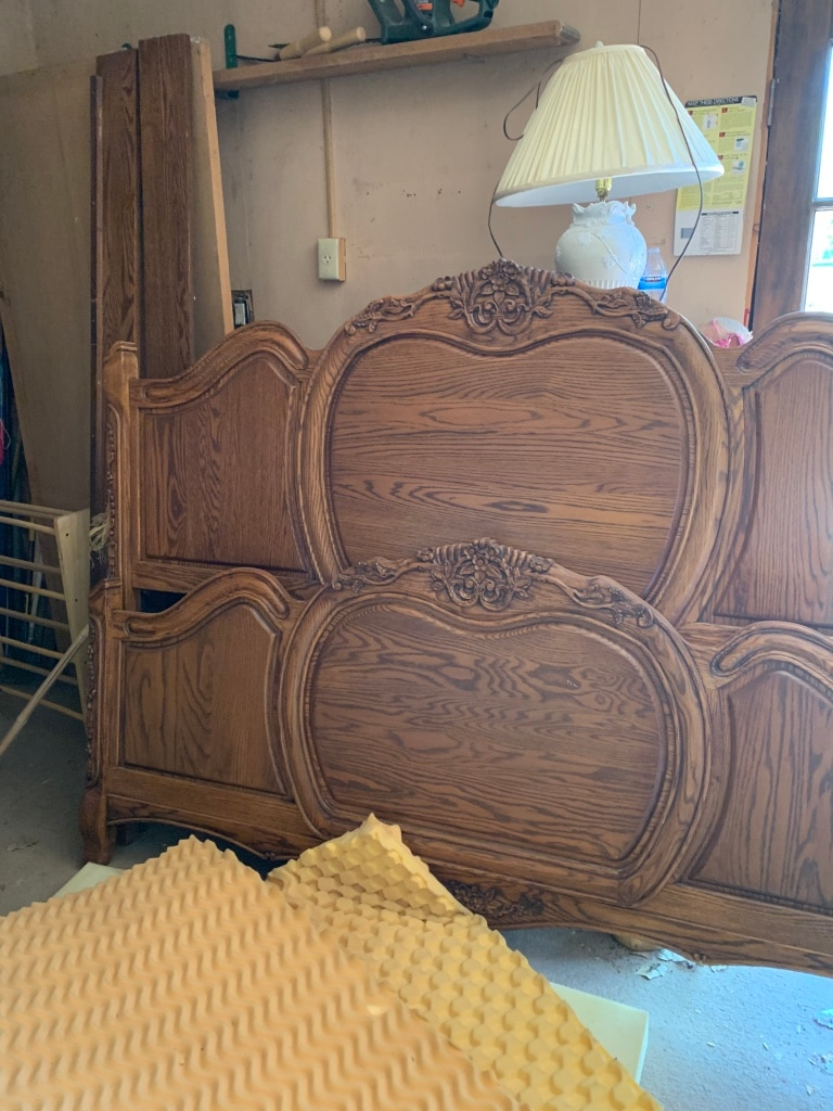 Photo King size Bed frame headboard and footboard and rails included.